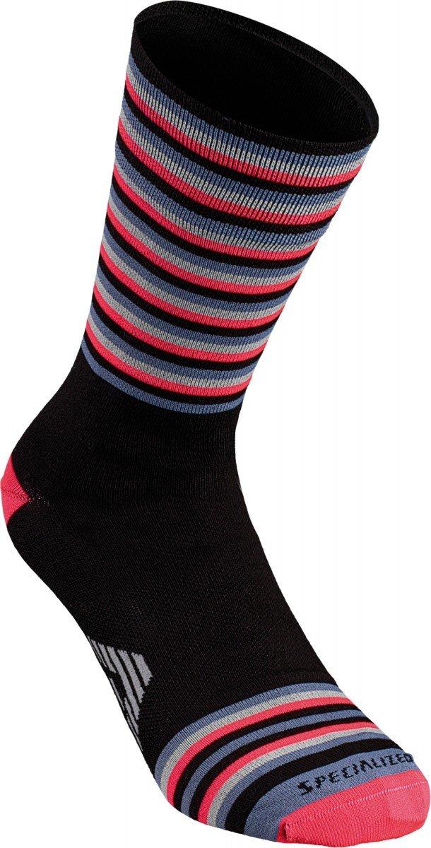 EAN-code: 1000001164052 Brand: SPECIALIZED Product: FULL STRIPE SOCK BLK/ACDRED L (Part-No: 644-82504) at cycleXperience.nl