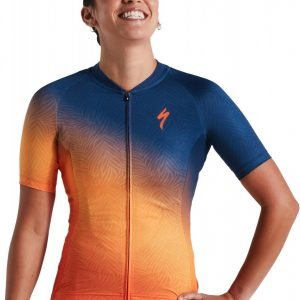 EAN-code: 2181004025829 Brand: SPECIALIZED Product: SHIRT K.M. SL DAMES ORANGE SUNSET/DARK BLUE at cycleXperience.nl