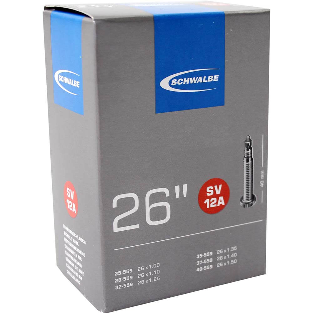 EAN-code: 4026495099141 Brand: SCHWALBE  Product: BINNENBAND MTB/RACE 26X1.0MM TOT 1.5MM VENTIEL FRANS 40MM SV12A (Part-No: 669347) at cycleXperience.nl